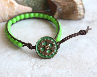steampunk gear bracelet with lime green beads