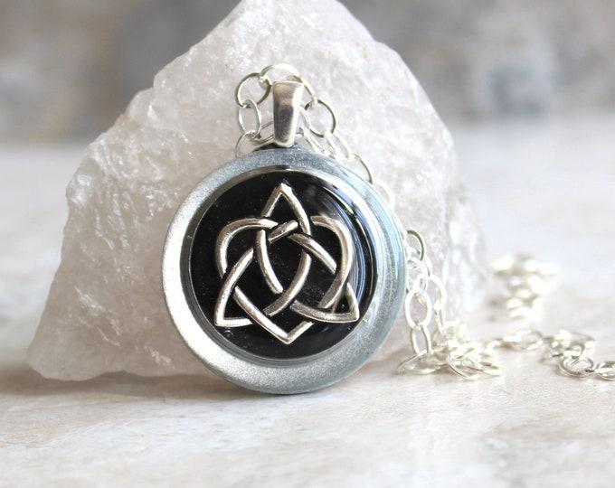 black Celtic sister knot necklace, celtic knot jewelry, triquetra necklace, druid jewelry, sister gift, best friend, unique gift