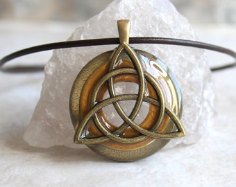 dark gold triquetra necklace, Celtic knot jewelry, mens Irish pendant, boyfriend gift, wiccan necklace