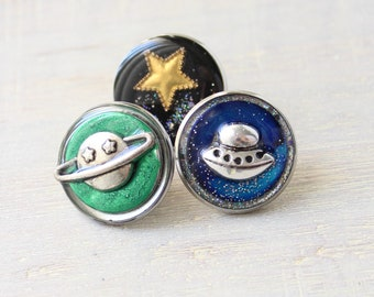 for the explorer, space themed lapel pins, set of 3, ufo pin, planet pin, star pin
