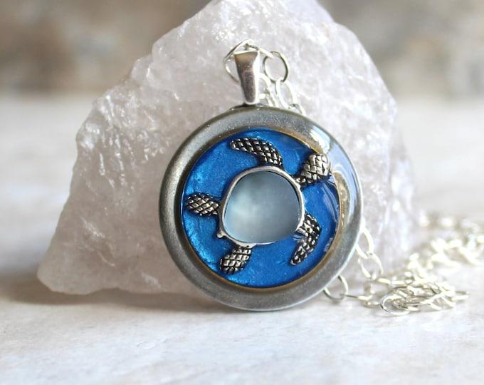 blue turtle necklace, sea turtle, turtle jewelry, nature necklace, unique gift, surfer jewelry, ocean pendant, ocean lover