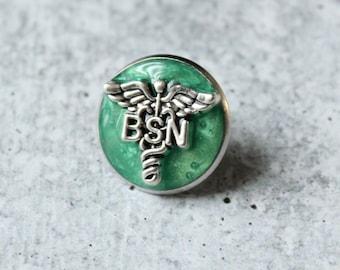 Bachelor of Science nursing pin, BSN pinning ceremony, nurse graduation gift, white coat ceremony, aqua green