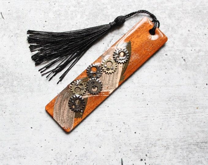 Wood bookmark, steampunk gear bookmark