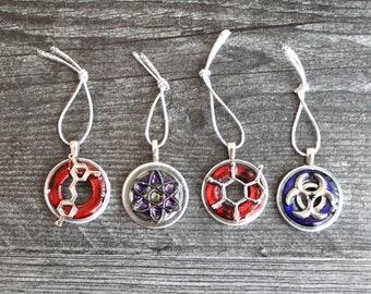 science themed ornament set, set of 4, caffeine molecule, red wine, atom molecule, bio-hazard