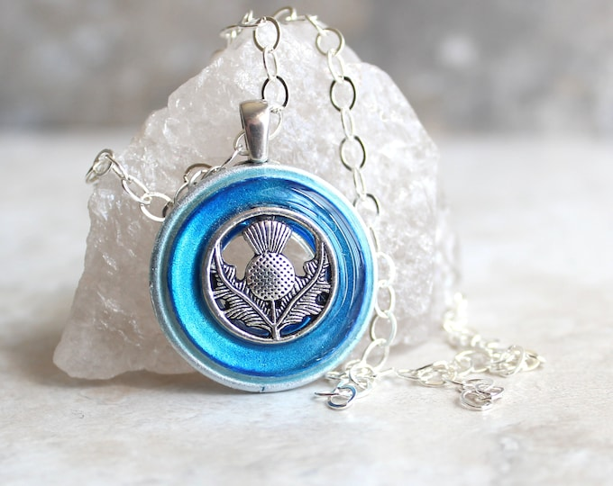 sky blue Scottish thistle necklace, Scotland jewelry, gift for her, floral jewelry, unique gift, nature necklace, thistle pendant