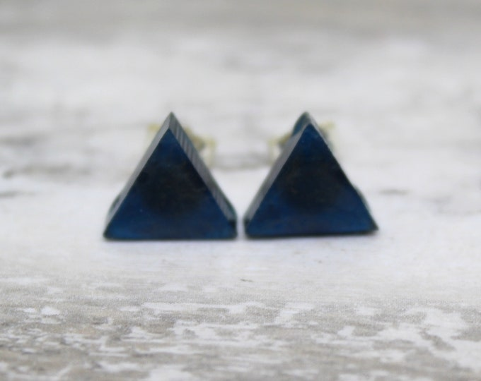navy blue gold triangle earrings with sterling silver posts