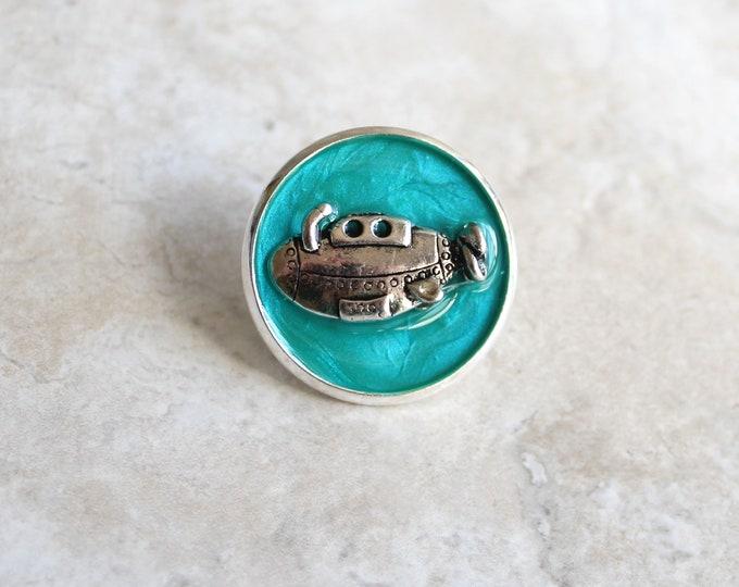 aqua submarine lapel pin, submarine brooch, scarf pin, unique gift, underwater explorer, gift for men, ocean jewelry, gift for women
