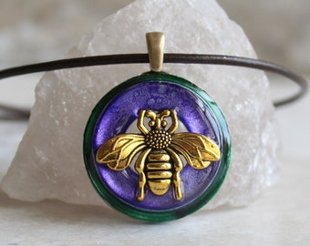 purple bee necklace, honeybee jewelry, bumblebee pendant, bee lover, nature necklace, unique gift, boho jewelry, hippie jewelry