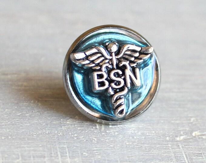 ice blue Bachelor of Science nursing pin, BSN pinning ceremony, nurse graduation gift, white coat ceremony