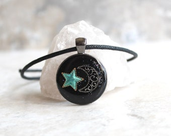star and moon necklace, crescent moon, green star, celestial jewelry, star necklace, unique gift, cord necklace, outer space jewelry
