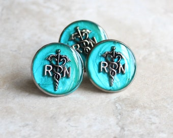 aqua registered nurse pin, RN pinning ceremony, nurse graduation gift, white coat ceremony, graduation gift