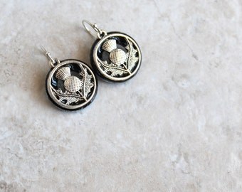 black Scottish thistle earrings on sterling silver ear wires