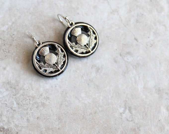 black Scottish thistle earrings, floral earrings, Scottish jewelry, unique gift, nature jewelry
