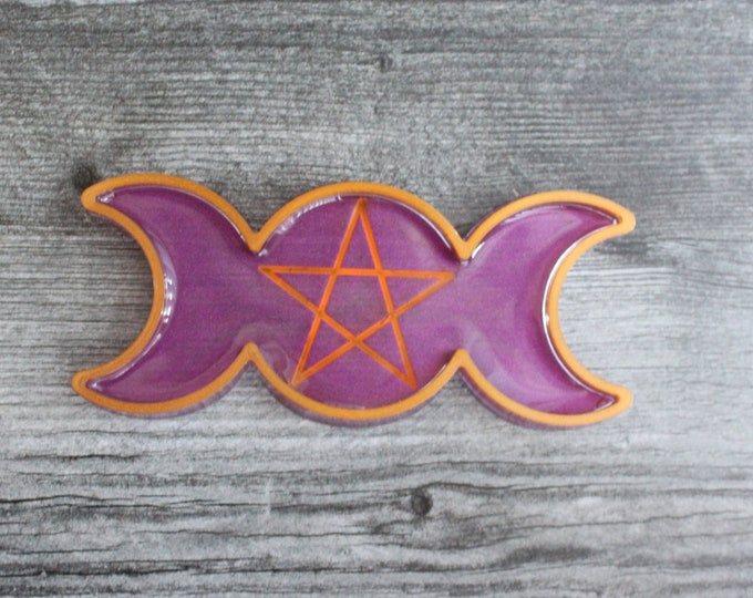 moon phase ring dish, trinket dish, candle holder, knick knack tray, purple and orange. wiccan tray, pentagram decor