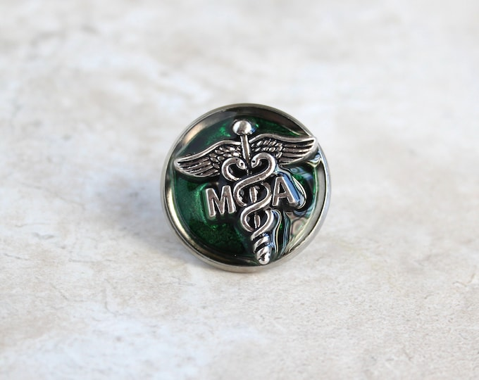 forest green medical assistant pin, MA pinning ceremony, MA graduation gift, white coat ceremony, lapel pin, tie tack, unique gift