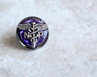 purple nurse practitioner pin, np pinning ceremony, nurse graduation gift, pinning ceremony, white coat ceremony, np graduation