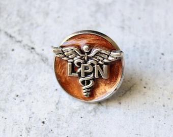licensed practical nurse pin, LPN pinning ceremony, nurse graduation gift, white coat ceremony, bronze