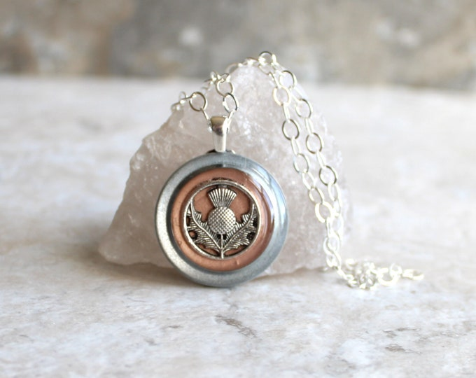 rose gold Scottish thistle necklace, Scotland jewelry, thistle pendant, unique gift, floral jewelry, Celtic jewelry, nature necklace