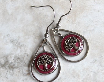 wine tree earrings, tree of life, tree jewelry, woodland jewelry, wiccan jewelry, unique gift, wife gift, nature earrings, teardrop earrings