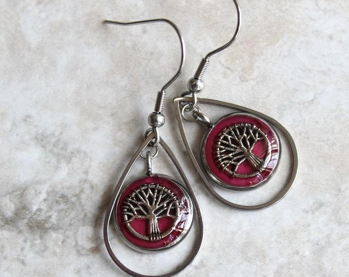 wine tree earrings, tree of life, tree jewelry, woodland jewelry, wiccan jewelry, unique gift, wife gift, nature earrings, teardrop earrings