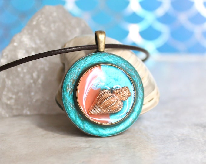 aqua and coral Seashell necklace, conch shell, nature necklace, tide pool necklace, surfer jewelry, beach jewelry, aloha jewelry