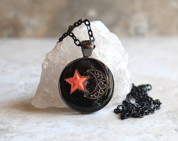 star and moon necklace, crescent moon, coral star, celestial jewelry, star necklace, unique gift, cord necklace, outer space jewelry