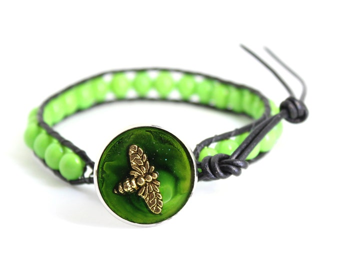 bee bracelet with leather cord and lime green beads