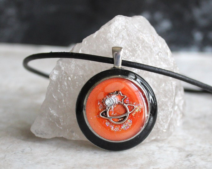 orange planet necklace, outer space pendant, galaxy necklace, celestial jewelry, Saturn jewelry, unique gift
