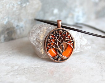 orange tree of life necklace, glow in the dark, festival fashion, boho jewelry, hippie pendant, wiccan jewelry, celtic tree