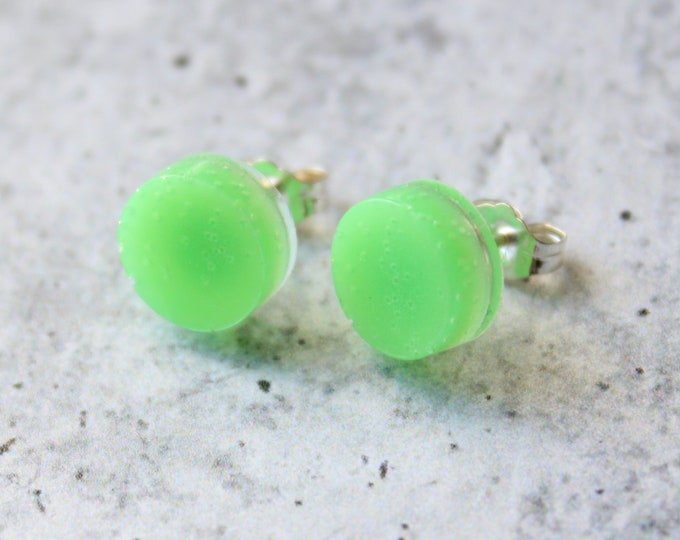 green circle earrings, glow in the dark with sterling silver posts, unique gift, festival jewelry