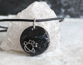 black planet necklace, outer space pendant, galaxy necklace, celestial jewelry, Saturn jewelry, unique gift, mens gift