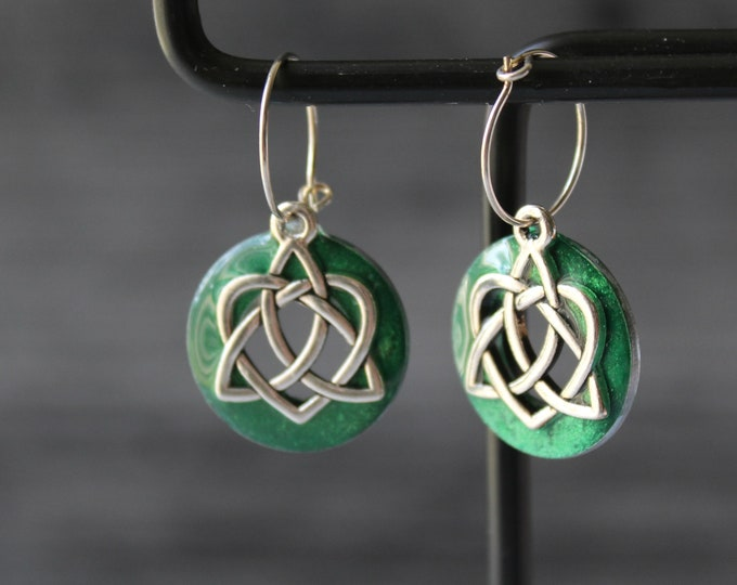 Celtic sister knot on sterling silver tiny hoops, Valentine's day gift, triquetra jewelry, green