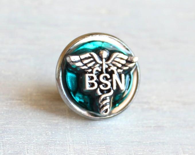 blue Bachelor of Science nursing pin, BSN pinning ceremony, nurse graduation gift, white coat ceremony