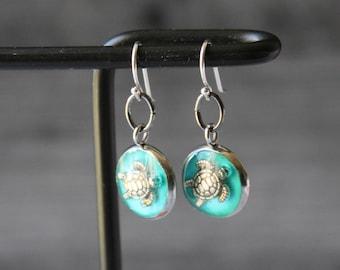 sea turtle earrings, ocean themed jewelry, unique gift, sterling silver ear wire