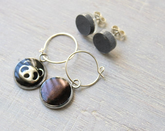mismatched panda bear earrings on sterling silver hoops with gray circle post earrings
