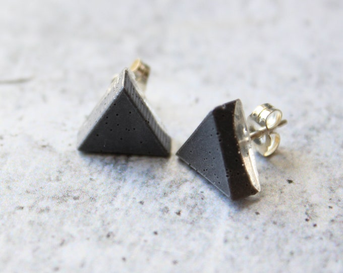 gray triangle earrings with sterling silver posts, unique gift, geometric jewelry