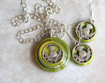 chartreuse Scottish thistle gift set, Scottish thistle necklace, thistle earrings, Scotland jewelry, unique gift, floral jewelry