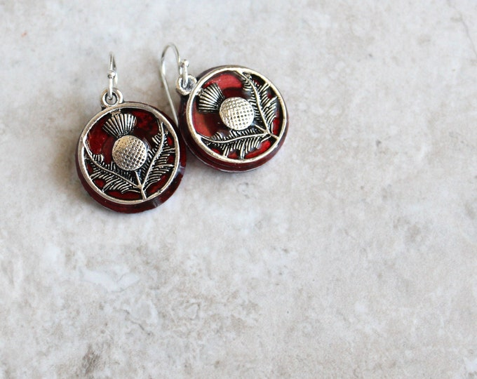 red Scottish thistle earrings, floral earrings, Scottish jewelry, unique gift, nature jewelry