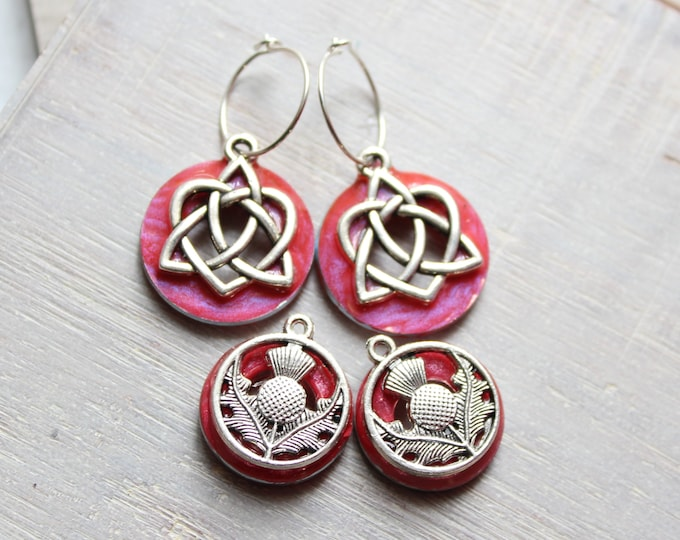 rose Celtic sister knot and Scottish thistle earrings on sterling silver tiny hoops