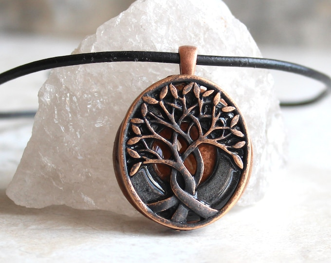 charcoal gray Celtic tree of life necklace, nature necklace, mens gift, boyfriend gift, mens jewelry, mens necklace, unique gift