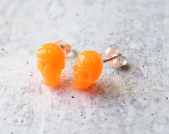 orange skull earrings, glow in the dark with sterling silver posts, unique gift, festival jewelry