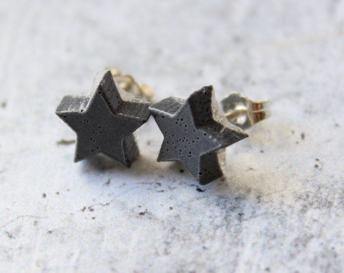 gray star earrings with sterling silver posts, unique gift, celestial jewelry