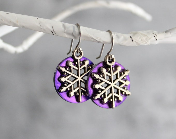 snowflake earrings, purple, winter jewelry, unique gift