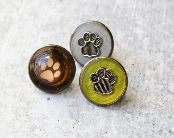 set of 3 paw print pins, animal lapel pin, unique gift