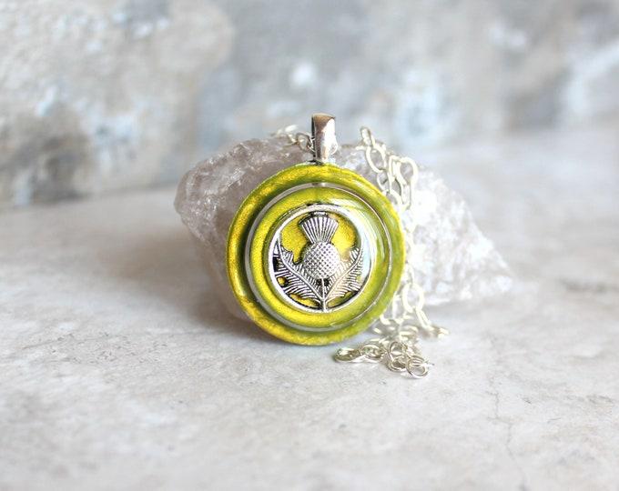 key lime Scottish thistle necklace, Scotland jewelry, thistle pendant, unique gift, floral jewelry, Scottish wedding, Celtic jewelry