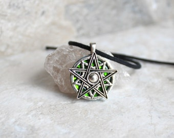 green pentagram necklace, star necklace, spiritual pendant, amulet necklace, wiccan jewelry, wicca pendant, unique gift