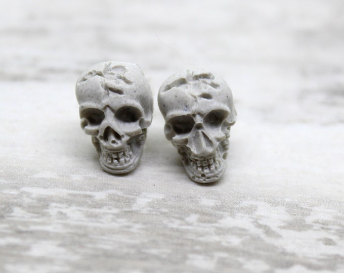 skull earrings with sterling silver posts
