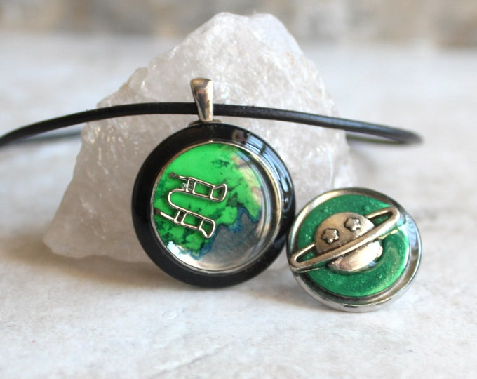 outer space gift set, astronaut necklace, saturn pin, planet lapel pin, space tie tack, unique gift, graduation gift, teacher gift