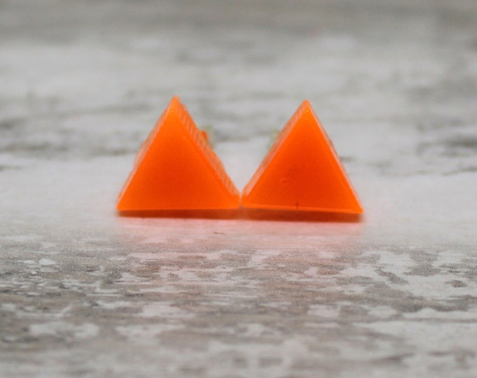 orange triangle earrings, glow in the dark with sterling silver posts
