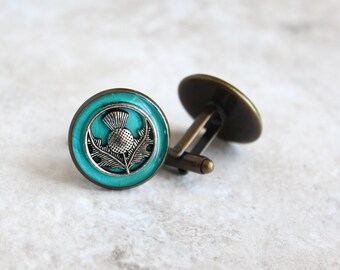 aqua Scottish thistle cufflinks, mens jewelry, Scotland jewelry, wedding party, groomsmen gift, best man gift, Scottish wedding